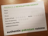 Classic Restaurant Feedback and Newsletter Request Card